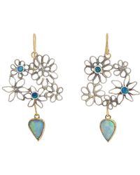 Judy Geib - Green Opal Flowery Double-drop Earrings - Lyst