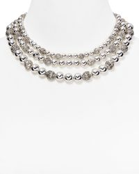 Lauren by Ralph Lauren - Metallic Beaded Delight 3 Row Collar Necklace 14 - Lyst