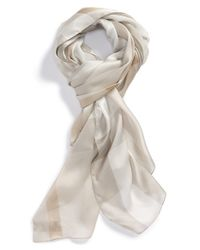 Burberry - Natural Check Print Silk Scarf - Lyst