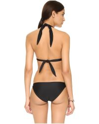 Mikoh Swimwear | Black St John Triangle Bikini Top - Pomegranate | Lyst