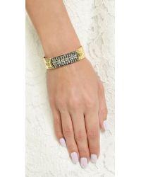 Iosselliani - Metallic Crystal Cuff Bracelet - Clear/gold - Lyst