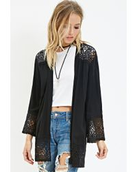 Forever 21 | Black Crochet-trimmed Crepe Cardigan You've Been Added To The Waitlist | Lyst