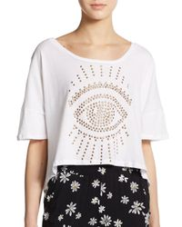 Knot Sisters - White Isabella Studded Cotton Tee - Lyst