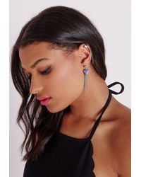 Missguided - Blue Triangle Pendant Ear Cuff Silver - Lyst