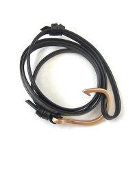 Miansai | Metallic Matte Rose Gold Fish Hook And Black Leather Wrap Bracelet | Lyst