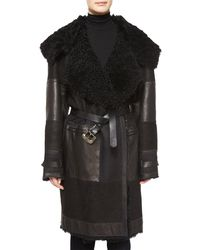 Donna Karan | Black Long-sleeve Dyed Shearling Fur Coat | Lyst
