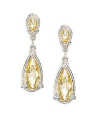 Judith Ripka | Yellow Canary Crystal White Sapphire Sterling Silver Drop Earrings | Lyst
