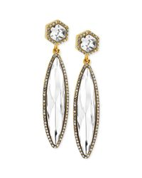Vince Camuto - Multicolor Goldtone Faceted Stone and Pave Crystal Linear Drop Earrings - Lyst