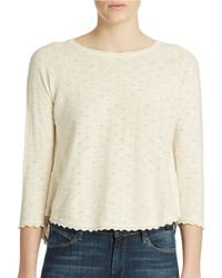 French Connection - White Scalloped Crop Top - Lyst