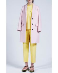 MSGM | Pink Blush Wool Felt Coat | Lyst