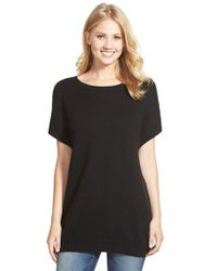 Halogen | Black Drop Shoulder Side Zip Tunic | Lyst
