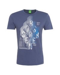 BOSS Green | Blue Modern-fit T-shirt In Cotton: 'tee 3' for Men | Lyst