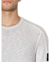 Stone Island | Gray Techno Cotton Knit Sweater for Men | Lyst