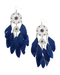 H&M - Blue Earrings with Feathers - Lyst
