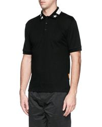 Givenchy - Black Stripe Star And Band Appliqué Polo Shirt for Men - Lyst