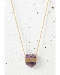 Forever 21   Purple Faux Stone Longline Necklace   Lyst