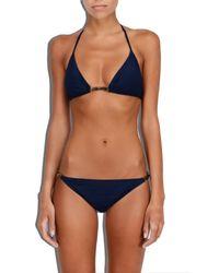 MILLY | Blue Cabana Italian Solid Positano Bikini Top | Lyst