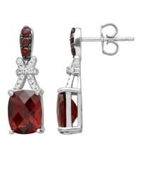 Lord & Taylor | Red Sterling Silver Drop Earrings With Garnet And White Topaz | Lyst