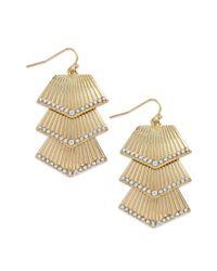 INC International Concepts | Metallic Goldtone Crystal Fan Linear Drop Earrings | Lyst