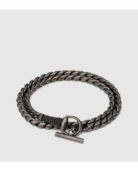 Gucci | Metallic Silver Horsebit Bracelet With Leather Wrap | Lyst