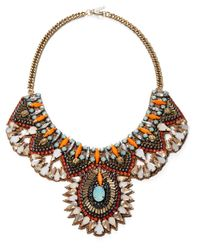 Deepa Gurnani | Multicolor Crystal And Nappa Leather Bib Necklace- 10 In | Lyst