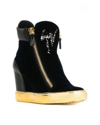Giuseppe Zanotti - Black Hi-top Sneakers With Side Zip And Rhinestones Logo - Lyst