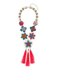 TOPSHOP - Multicolor Layered Flower Tassel Necklace - Lyst