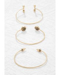 Forever 21 | Metallic Faux Stone Cuff Set | Lyst