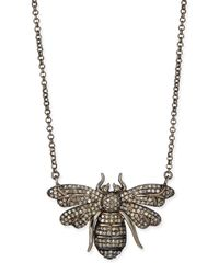 Siena Jewelry | Metallic Silver Diamond Bee Pendant Necklace | Lyst