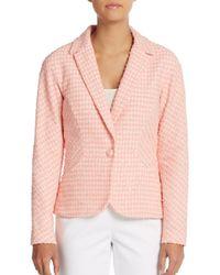 Carolina Herrera - Pink One-button Tweed Blazer - Lyst