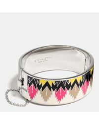 COACH | Metallic Wide Hinged Hawk Feather Enamel Bangle | Lyst