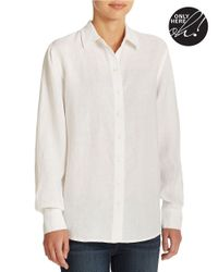 Lord & Taylor | Natural Petite Linen Blouse | Lyst