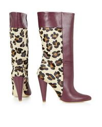 TOPSHOP - Multicolor Babs Leopard Cone Heel Boots - Lyst