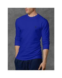 4f65b126 Lyst - Polo Ralph Lauren Waffle-knit Crewneck Thermal in Blue for Men