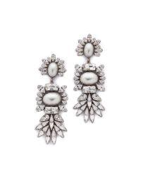 DANNIJO | Metallic Colby Earrings - Silver/Crystal/Pearl | Lyst