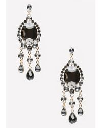 Bebe | Black Fringe & Stone Earrings | Lyst