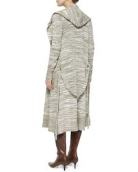 Haute Hippie - Natural Hooded Long Sweater With Belt - Lyst