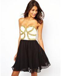 Rare Opulence | Black Skater Dress with Embellished Bandeau | Lyst