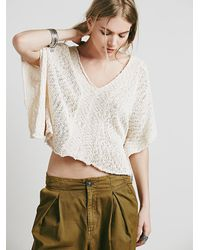 Free People - White Womens Slubby Poncho Sweater - Lyst