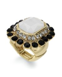 INC International Concepts | Metallic 14k Gold-plated Multi-stone Art Deco Stretch Ring | Lyst