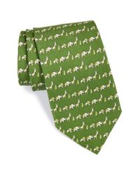 Ferragamo - Green 'animal Print' Woven Silk Tie for Men - Lyst