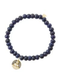 Sydney Evan - Blue 6Mm Faceted Sapphire Beaded Bracelet With 14K Gold/Diamond Sitting Buddha Charm (Made To Order) - Lyst