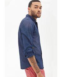 Forever 21 - Blue Classic Fit Denim Shirt for Men - Lyst