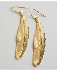 A.V. Max - Metallic Gold Metal Feather Earrings - Lyst