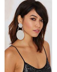 Nasty Gal | White Disc Jockey Chain Earrings | Lyst