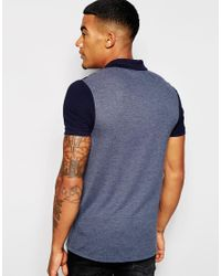 Men's Blue Muscle Pique Polo With Cut & Sew Panel