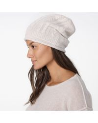 James Perse - Natural Cashmere Cable Knit Beanie - Lyst