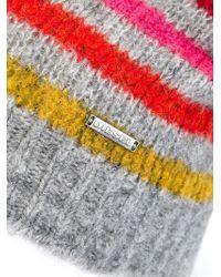 DIESEL - Gray Striped Beanie for Men - Lyst