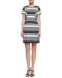 Shoshanna   White Porter Road Ponte Striped Dress   Lyst
