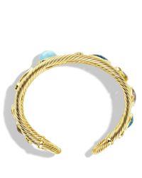 David Yurman   Metallic Mosaic Cuff With Blue Topaz And Diamonds In Gold   Lyst